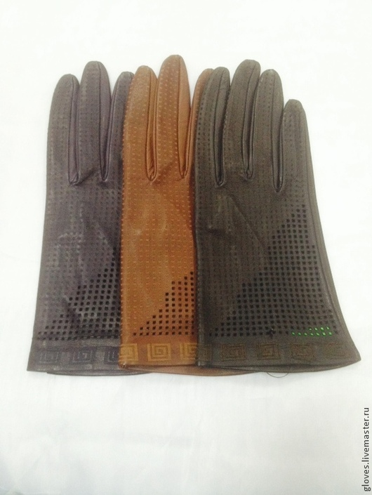 Варежки, митенки, перчатки ручной работы. Ярмарка Мастеров - ручная работа. Купить Перчатки женские кожаные без подкладки с перфорацией. Handmade.