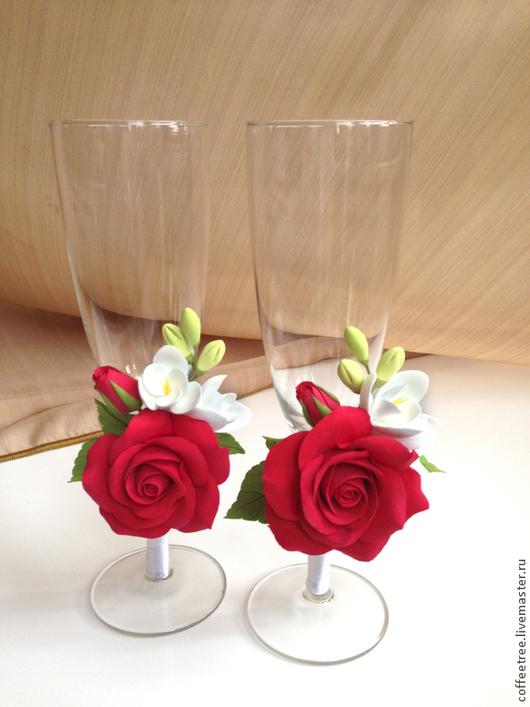 Бокалы, стаканы ручной работы. Ярмарка Мастеров - ручная работа. Купить Бокалы с красной розой. Handmade. Бокалы для шампанского