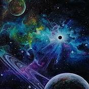 Картины и панно handmade. Livemaster - original item Calm in the chaos. Cosmic picture 30/40. Handmade.