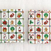 Материалы для творчества ручной работы. Ярмарка Мастеров - ручная работа Ткань хлопок Новый год Квадраты. Handmade.