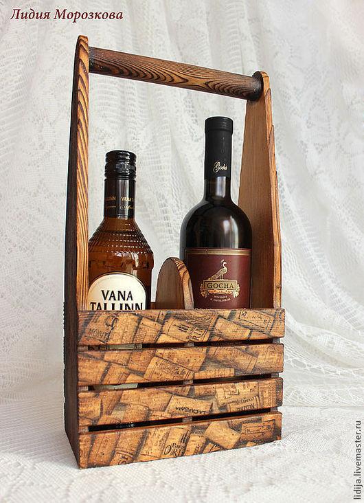 """Корзины, коробы ручной работы. Ярмарка Мастеров - ручная работа. Купить Короб для вина """"Коллекция"""". Подставка под вино из дерева. Handmade."""