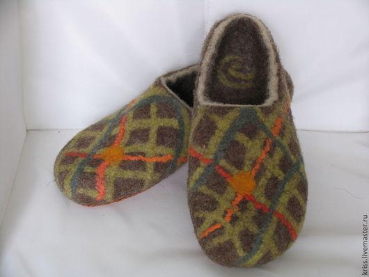 Обувь ручной работы. Ярмарка Мастеров - ручная работа. Купить тапки КЛЕТЧАТЫЕ. Handmade. Хаки, Тапочки ручной работы, тапочки