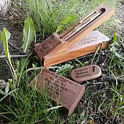 Канцелярские товары handmade. Livemaster - original item Wooden pen and USB stick with engraving, in a box and case. Handmade.