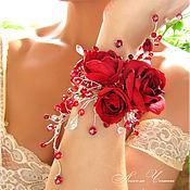 Свадебный салон ручной работы. Ярмарка Мастеров - ручная работа Свадебный браслет с красными розами. Handmade.