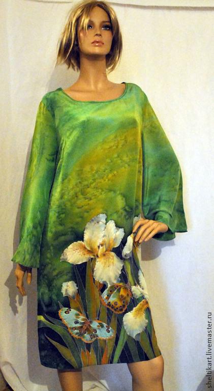 """Платья ручной работы. Ярмарка Мастеров - ручная работа. Купить Платье Батик """" Ирисы"""". Handmade. Зеленый, ирисы"""