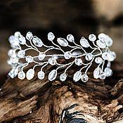 Свадебный салон ручной работы. Ярмарка Мастеров - ручная работа 619_Cвадебный браслет с прозрачными кристаллами, серебристый браслет. Handmade.