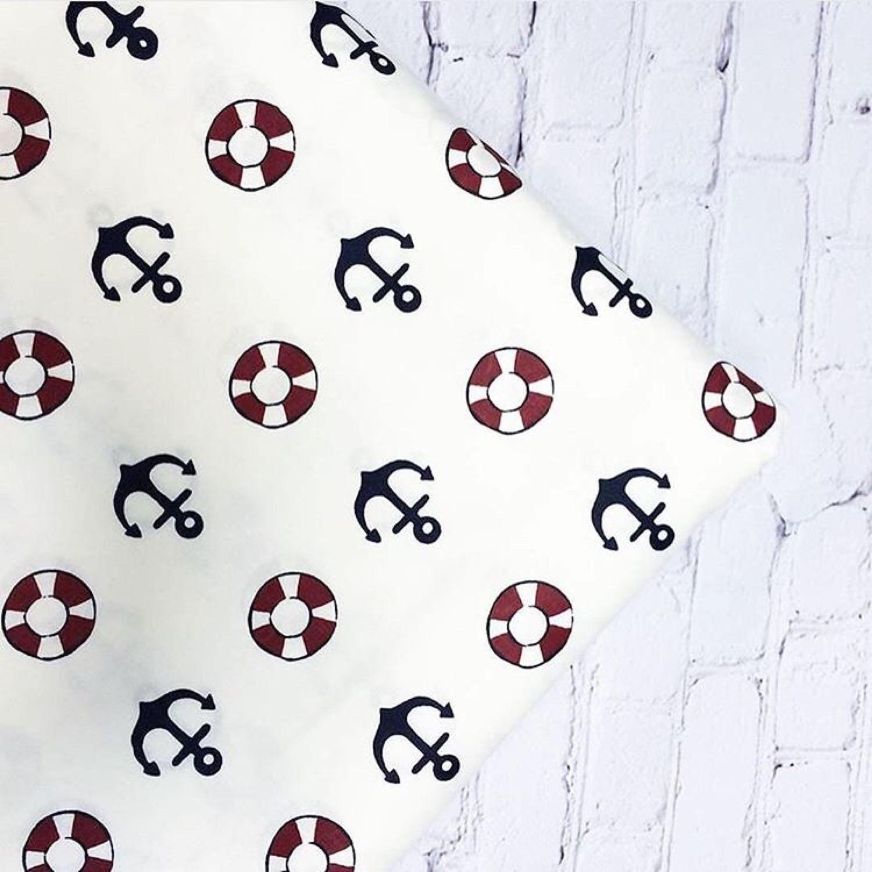 Ткань хлопок якоря и спасательный круг  на белом. Сатин. 100% Хлопок, Шитье, Москва, Фото №1
