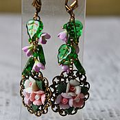Украшения handmade. Livemaster - original item Earrings with flowers from polymer clay Delicate bouquet. Handmade.
