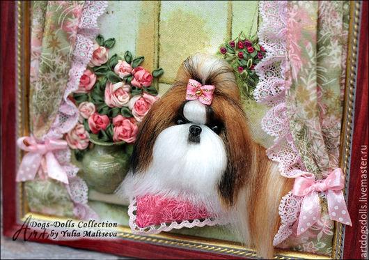 Животные ручной работы. Ярмарка Мастеров - ручная работа. Купить Ши-Тцу, миниатюрная кукла в интерьерной композиции.. Handmade. Собачка