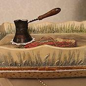 """Для дома и интерьера ручной работы. Ярмарка Мастеров - ручная работа Поднос на подушке """" малина в траве"""". Handmade."""
