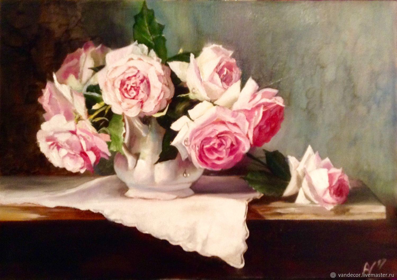 Розы в белой вазе, Картины, Москва, Фото №1