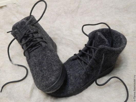 Обувь ручной работы. Ярмарка Мастеров - ручная работа. Купить Ботинки валяные из шерсти ручной работы. Handmade. Темно-серый