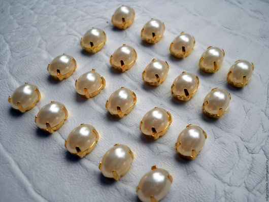 Для украшений ручной работы. Ярмарка Мастеров - ручная работа. Купить Стразы под жемчуг 6 х 8 мм ,в золотых цапах. Handmade.