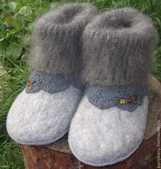 """Обувь ручной работы. Ярмарка Мастеров - ручная работа. Купить Тапочки """" Пуховые """". Handmade. Серый"""