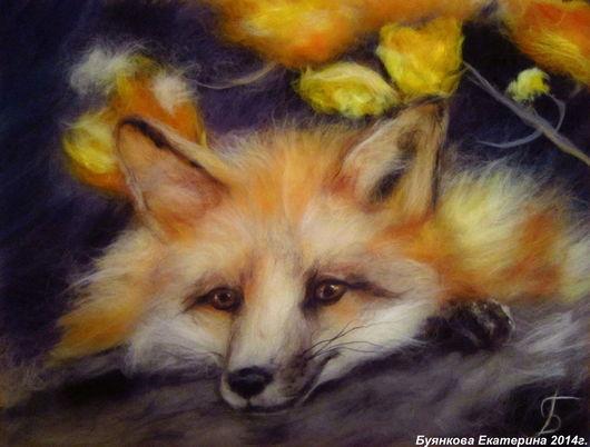 Животные ручной работы. Ярмарка Мастеров - ручная работа. Купить Лисичка. Handmade. Лисичка, лиса, лис, картины из шерсти, животные