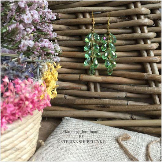 Серьги ручной работы. Ярмарка Мастеров - ручная работа. Купить Серьги веточки грозди капли зеленые. Handmade. Серьги
