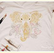 """Одежда ручной работы. Ярмарка Мастеров - ручная работа Женская футболка """"Денежный слон, исполняющий желания"""". Handmade."""