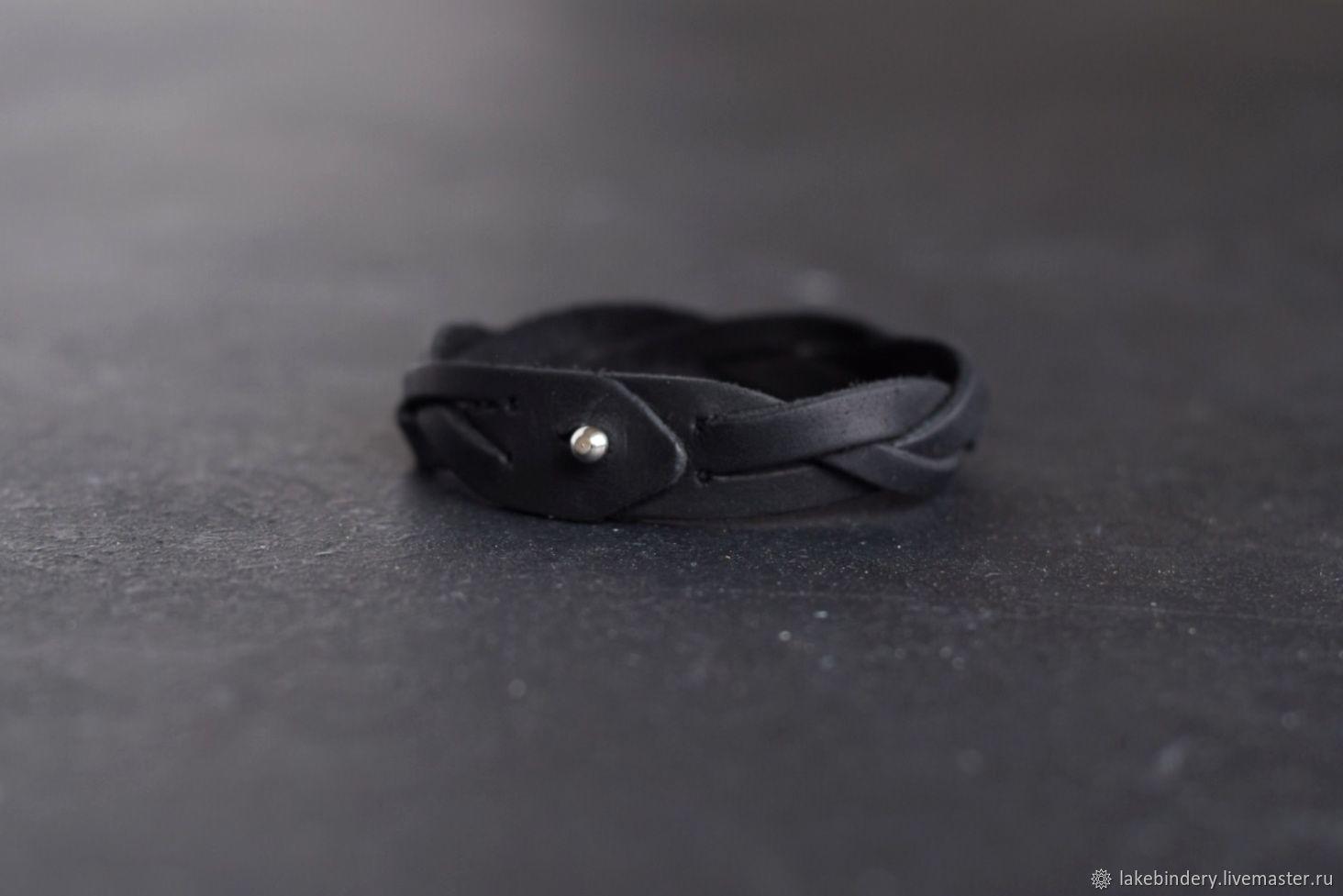 Чёрный кожаный браслет косичка, Браслет из бусин, Москва,  Фото №1