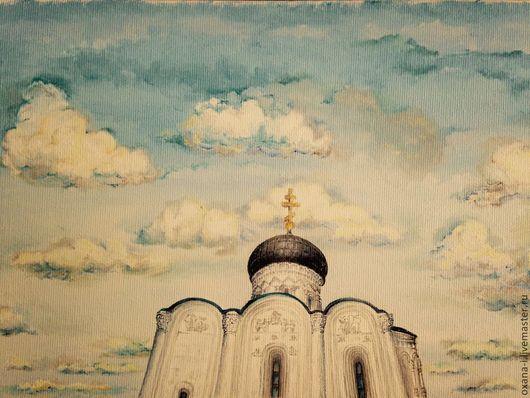 Пейзаж ручной работы. Ярмарка Мастеров - ручная работа. Купить Церковь Покрова на Нерли. Handmade. Голубой, храм, картина маслом