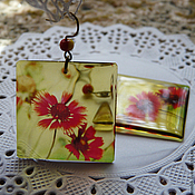 Украшения handmade. Livemaster - original item Scarlet Immortelle earrings transparent. Handmade.