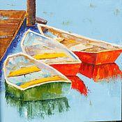 Картины и панно ручной работы. Ярмарка Мастеров - ручная работа Картина маслом Три лодки Пейзаж 50 на 50 см красный желтый голубой. Handmade.
