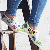 Обувь ручной работы. Ярмарка Мастеров - ручная работа Кеды с росписью Donuts Universe. Handmade.