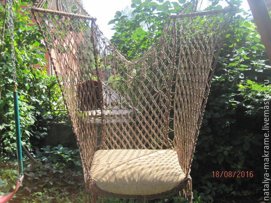 Мебель ручной работы. Ярмарка Мастеров - ручная работа. Купить подвесное плетеное кресло кричневое. Handmade. Коричневый, плетеное кресло