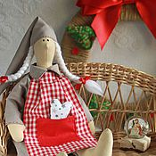 Куклы и игрушки handmade. Livemaster - original item Tilda Sleepy angel, Nordic New year, red, grey, beige. Handmade.