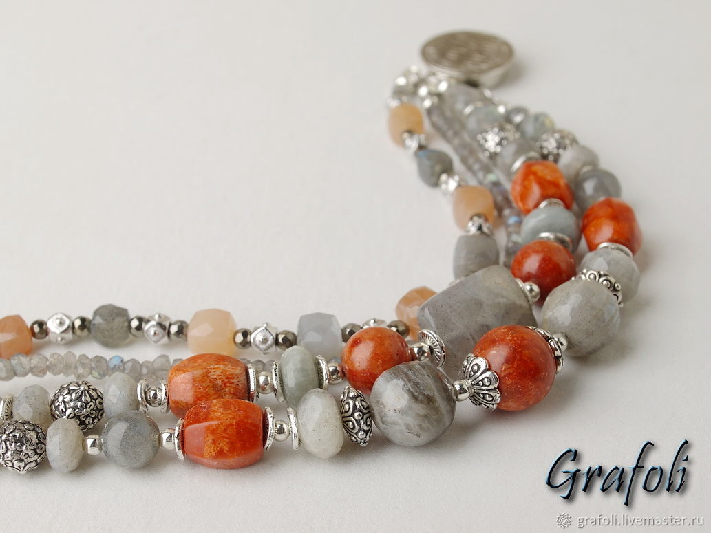 Bracelet with labradorite and coral, Bead bracelet, Moscow,  Фото №1