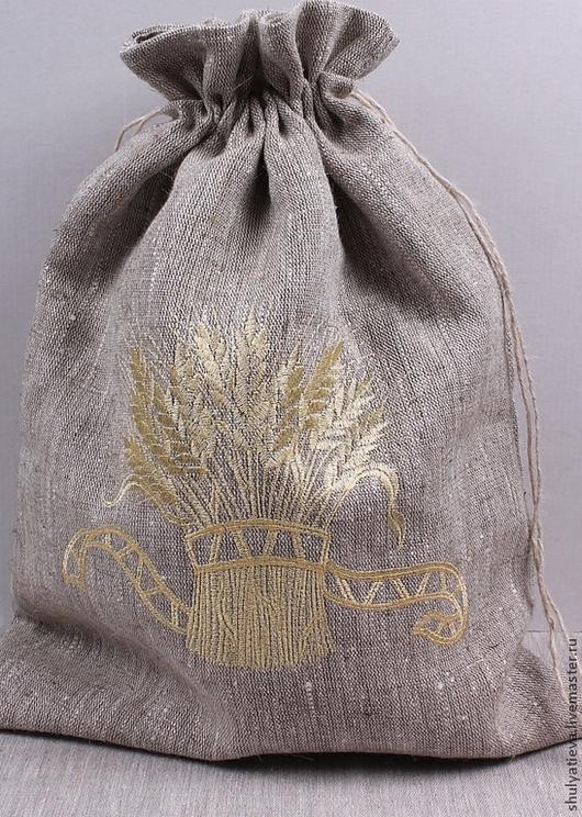 """Кухня ручной работы. Ярмарка Мастеров - ручная работа. Купить Двойной мешочек для хлеба """"Сноп пшеницы"""". Handmade. Золотой"""