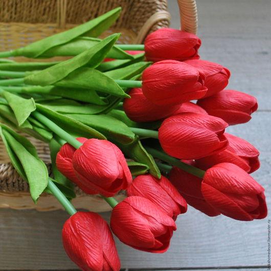 Тюльпан красный 33см фоам, 2546