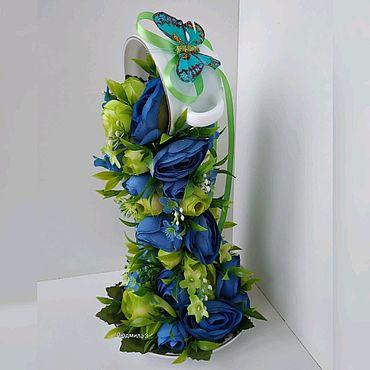 """Цветы и флористика ручной работы. Ярмарка Мастеров - ручная работа Парящая чашка """"Сине-зелёная камелия"""". Handmade."""
