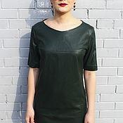 SALE! -40% Платье-трапеция из эко-кожи темно-зеленое