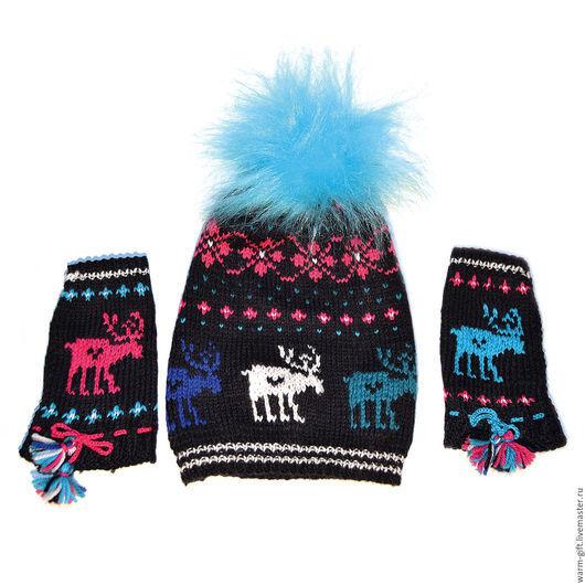 """Комплект """"Ночные олени под малиновыми звездами"""" (01-17) Set """"Night Deer under the crimson stars"""" (Hat and mittens) (01-17) В комплекте: шапка 1 шт. и митенки (20 х 10 см) 2 шт"""
