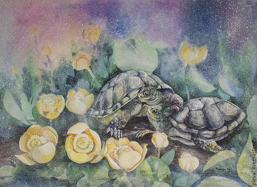 Животные ручной работы. Ярмарка Мастеров - ручная работа. Купить Картина акварелью Наше уютное болотце - черепахи. Handmade. черепашка
