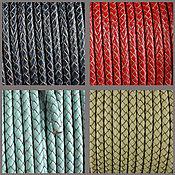 Материалы для творчества handmade. Livemaster - original item 50 cm leather Cord braided 5 mm (art. 2770). Handmade.