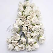 Материалы для творчества ручной работы. Ярмарка Мастеров - ручная работа Роза цветок диаметр 1,5 см на длинном стебле. Handmade.