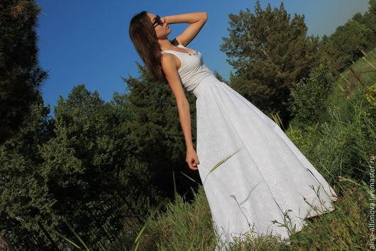 """Юбки ручной работы. Ярмарка Мастеров - ручная работа. Купить Длинная летняя юбка """"Ок йул"""" хлопок-шитье. Handmade."""