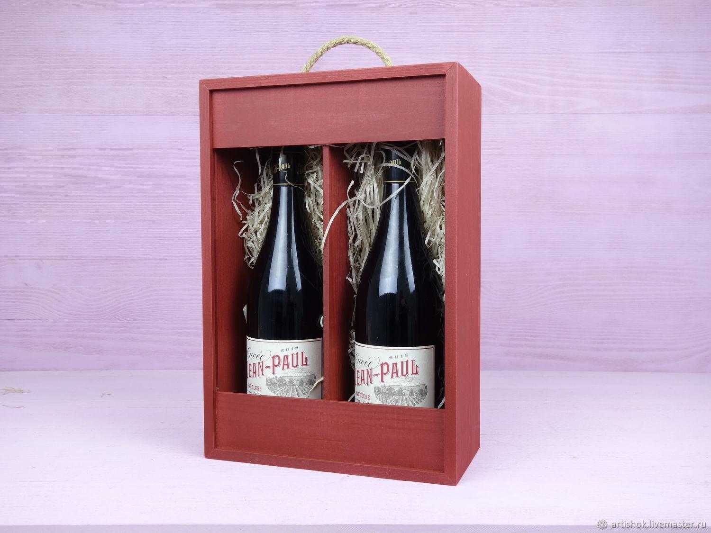 Пенал открытый под 2 бутылки из сосны, Упаковка, Одинцово, Фото №1