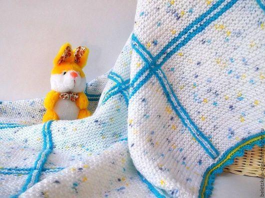 """Пледы и одеяла ручной работы. Ярмарка Мастеров - ручная работа. Купить Детский плед """"Облако в клеточку"""" вязаный спицами. Handmade."""