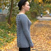 Одежда ручной работы. Ярмарка Мастеров - ручная работа Голубой свитер с ажурной спинкой. Handmade.