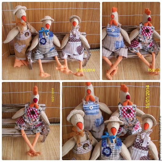 Куклы Тильды ручной работы. Ярмарка Мастеров - ручная работа. Купить Гуси и Петушки Тильда. Handmade. Разноцветный, петухи, гусята