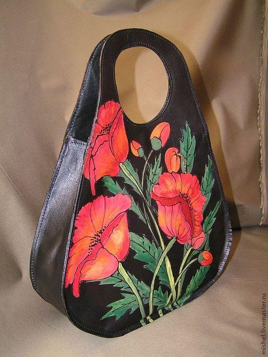 Женские сумки ручной работы. Ярмарка Мастеров - ручная работа. Купить Маленькая сумочка с маками. Handmade. Черный, Сумочка маленькая