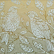 """Картины и панно ручной работы. Ярмарка Мастеров - ручная работа Картина на стекле """"Парочка белых птичек"""". Handmade."""