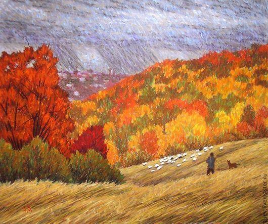 """Пейзаж ручной работы. Ярмарка Мастеров - ручная работа. Купить Картина """"Возвращение стада"""". Handmade. Графика, пейзаж, поле, стадо"""