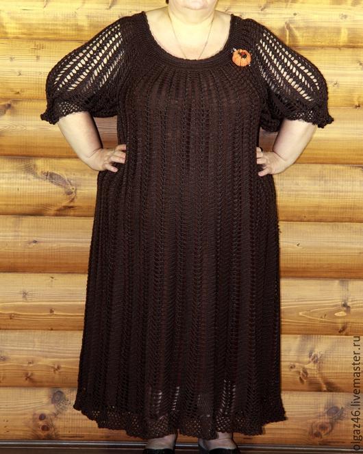 """Большие размеры ручной работы. Ярмарка Мастеров - ручная работа. Купить Платье вязанное большого размера """"Воздушный шоколад"""". Handmade."""