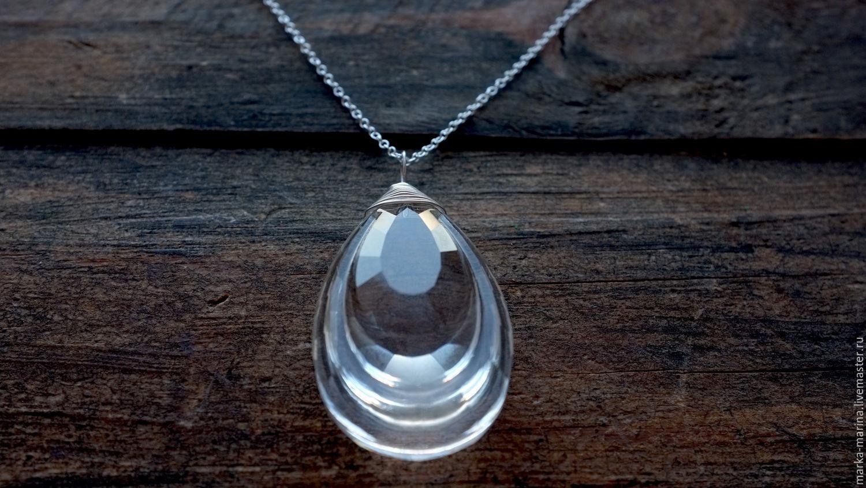 Large glass teardrop pendant in silver 925 shop online on pendants handmade large glass teardrop pendant in silver 925 markamarina jewelry shop aloadofball Choice Image