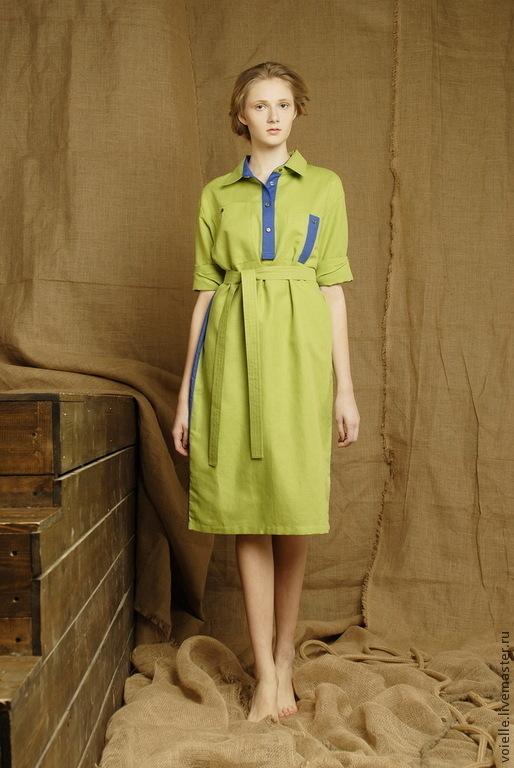 Платье-рубашка зелено-синее льняное летнее, на каждый день, длиной до колен, длина миди, платье комбинированное с отделкой
