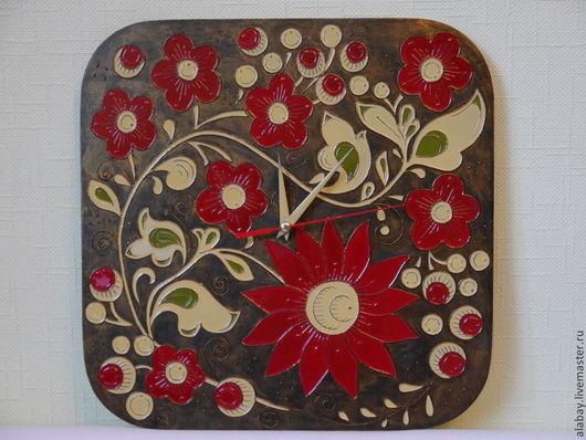 Часы для дома ручной работы. Ярмарка Мастеров - ручная работа. Купить Часы ручной работы Хохломские узоры. Handmade. Разноцветный