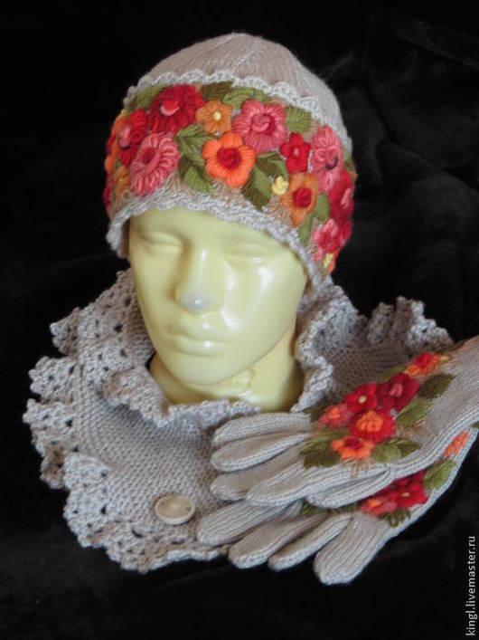 Шапки ручной работы. Ярмарка Мастеров - ручная работа. Купить Женская вязаная шапочка с ручной вышивкой Осенний вальс. Handmade.